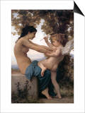 A Young Girl Defending Herself Against Eros Prints by William Adolphe Bouguereau
