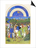 Le Tres Riches Heures Du Duc De Berry - May Posters by Paul Herman & Jean Limbourg