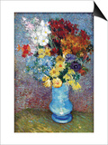 Flowers In a Blue Vase Posters by Vincent van Gogh