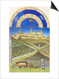 Le Tres Riches Heures Du Duc De Berry - March Print by Paul Herman & Jean Limbourg