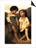 At the Edge of the Brook Poster by William Adolphe Bouguereau