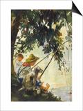 Tom Sawyer Fishing Print by Howard Pyle