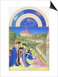 Le Tres Riches Heures Du Duc De Berry - April Print by Paul Herman & Jean Limbourg