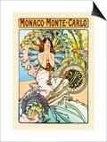 Monaco, Monte Carlo Prints by Alphonse Mucha