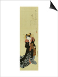A Standing Courtesan in a Black Kimono Scattered with White Flowerheads Holding a Wad of Paper Poster by Utagawa Kunisada