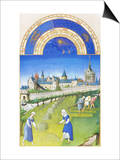 Le Tres Riches Heures Du Duc De Berry - June Posters by Paul Herman & Jean Limbourg