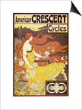 American Crescent Cycles Print by Alphonse Mucha