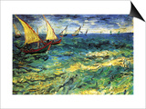 Seascape with Sailboats Print by Vincent van Gogh