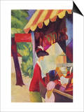Before Hutladen (Woman with a Red Jacket and Child) Art by Auguste Macke