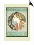 Woman's Profile Prints by Alphonse Mucha