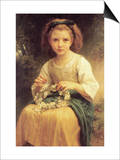 A Young Girl Braids a Garland Crown of Flowers Print by William Adolphe Bouguereau