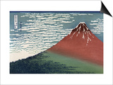 Red Fuji or South Wind, Clear Sky Poster von Katsushika Hokusai