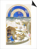 Le Tres Riches Heures Du Duc De Berry - February Kunst van Paul Herman & Jean Limbourg