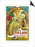 Fox-Land Jamaica Rum Art by Alphonse Mucha