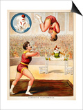 Acrobatic Performance'. Acrobats and a Clown Performing in the Circus Ring Posters