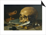 Still Life with a Skull and a Writing Quill, 1628 Póster por Pieter Claesz