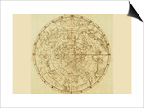 Celestial Map of the Mythological Heavens with Zodiacal Characters Prints by Sir John Flamsteed