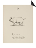 Pig Illustrations and Verse From Nonsense Alphabets by Edward Lear. Art by Edward Lear