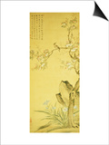 A Bird Standing on a Peach Blossom Tree, 1689 Posters by Wang Wu