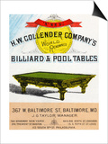 The H.W. Collender Company's World Renown Billiard and Pool Tables Prints