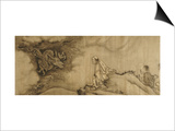"""A Section from """"16 Luohans"""" a Dragon Emerging from the Clouds and Confronting the Luohan Prints by  Shike"""