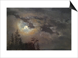 A Cloud and Landscape Study by Moonlight Art by Johan Christian Clausen Dahl