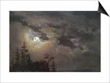 A Cloud and Landscape Study by Moonlight Art by Johan Christian Clausen Dahl