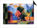 Garden On The Lake of Thun Kunstdrucke von Auguste Macke