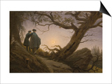 Two Men Contemplating the Moon Print by Caspar David Friedrich