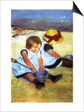 Children Playing on the Beach Posters by Mary Cassatt