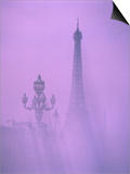 Eiffel Tower and Candelabra with Fog in Paris Posters by Fridmar Damm