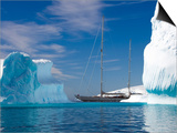 "Sy ""Adele"", 180 Foot Hoek Design, Motoring Past Icebergs in Wilhelmina Bay, Antarctica, 2007 Poster by Rick Tomlinson"