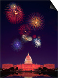 United States Capitol Building and Fireworks Prints by Bill Ross