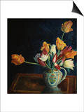 Tulips in a Staffordshire Jug, Catalogue No. 210C Poster av Dora Carrington