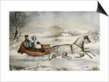 The Road, Winter, 1853 Art by  Currier & Ives