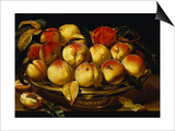 Peaches in a Silver-Gilt Bowl on a Ledge Poster by Jacques Linard