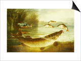 A Kingfisher and a Pike Capturing Perch Posters by Henry Leonides Rolfe