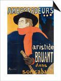 Ambassadeurs; Aristide Bruant, 1892 Poster by Mary Cassatt
