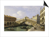 The Rialto Bridge Venice from the South with the Fondamenta Del Vin and the Fondaco Dei Tedeschi Prints by  Canaletto