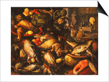 Game, Fish, Fruit and Vegetables in Baskets and Bowls in a Larder Prints by Joachim Beuckelaer