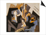 Cubist Still Life in Blue and Grey; Nature Morte Cubiste Bleu Gris Poster av Maria Blanchard