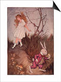 Illustration of Alice and the White Rabbit by Milo Winter Posters