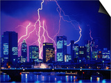 Lightning over the skyline of Frankfurt/Main Prints by Eberhard Streichan