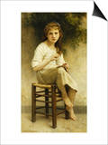 Idle Thoughts (Little Girl Sitting Embroidering) Posters by William Adolphe Bouguereau