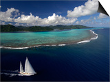 """Sy """"Adele"""", 180 Foot Hoek Design, Underway Close to the Reef Off Huahine Island, French Polynesia Art by Rick Tomlinson"""