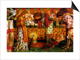 How Sir Galahad, Sir Bors and Sir Percival Were Fed with the Sanc Grael Art by Dante Gabriel Rossetti