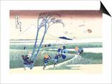 Wind Buffets Travelers in View of Mount Fuji Print by Katsushika Hokusai