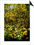 A Leaded Glass Window of a Woodland Scene Art by  Tiffany Studios