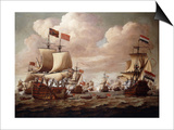 The English and Dutch Fleets exchanging Salutes at Sea Posters by Willem Velde I