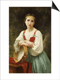 Basque Gipsy Girl with Tambourine Prints by William Adolphe Bouguereau